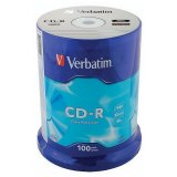 Диски CD-R VERBATIM 700 Mb 52х, КОМПЛЕКТ 100 шт, Cake Box, 43411