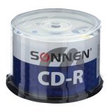Диски CD-R SONNEN 700 Mb 52x Cake Box, КОМПЛЕКТ 50 шт, 512570