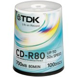 Диск CD-R 700Mb TDK 52x Cake Box (100шт)